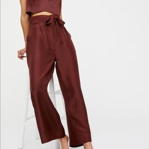 FREE PEOPLE red silk Meridien pants